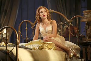 "Photo - This undated theater image released by Boneau/Bryan-Brown shows Scarlett Johansson during a performance of ""Cat on a Hot Tin Roof,"" playing at the Richard Rodgers Theatre in New York. (AP Photo/Boneau/Bryan-Brown, Joan Marcus)"