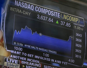 Photo - A television displays news about the Nasdaq on the Nasdaq building in New York, Thursday, Aug. 22, 2013. Nasdaq halted trading Thursday because of a technical problem, the latest glitch to affect the stock market. (AP Photo/Seth Wenig)