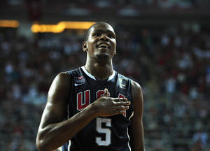 Photo - Kevin Durant was the MVP at the FIBA World Championship this summer. AP PHOTO