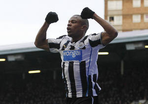 Photo - Newcastle United's Loic Remy celebrates his goal against  West Ham United during their English Premier League soccer match at Upton Park, London, Saturday, Jan. 18, 2014. (AP Photo/Sang Tan)
