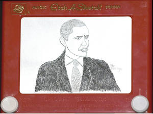 Photo -   FILE - A Nov. 5, 2008 file photo shows an Etch A Sketch portrait of President Elect Barack Obama, that was unveiled as the results of the presidential election were announced. Etch A Sketch is suddenly drawing lots of attention, thanks to a gaffe that has shaken up Mitt Romney's campaign. Ohio Art, the maker of the classic baby boomer toy, says it's sending a big box of Etch A Sketches to the presidential campaigns to say thanks for the publicity and a boost in sales. (AP Photo//The Ohio Art Company, Ellen Dallager, File)