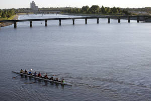 Photo - People practice rowing on the Oklahoma River in Oklahoma City,  Tuesday, Sept. 24, 2013. Photo by Sarah Phipps, The Oklahoman