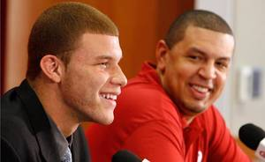 Photo - University of Oklahoma college basketball star Blake Griffin announces he will leave the Sooner team for the NBA professional draft in Norman, Okla. on Tuesday, April 7, 2009.   At right is head coach Jeff Capel.   Photo by Steve Sisney, The Oklahoma