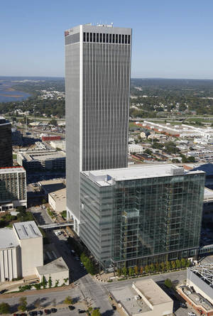 photo - An aerial view photo of downtown Tulsa's skyline on Oct. 18, 2007 with the new city hall and the BOK tower. TOM GILBERT/TULSA WORLD