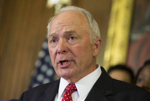 Photo - Rep. John Kline, R-Minn., speaks during a news conference in support of charter schools on Capitol Hill, on Wednesday, May 7, 2014, in Washington.  (AP Photo/ Evan Vucci)