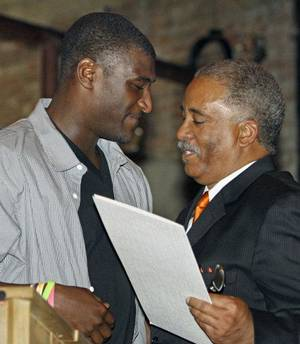 "photo - Ardmore mayor John Moore (right) presents Jusin Blackmon with a proclamation declaring ""Justin Blackmon Day "" in Ardmore on Saturday, April 23, 2011, in Ardmore, Okla. Photo by Steve Sisney, The Oklahoman <strong>STEVE SISNEY</strong>"