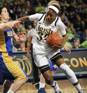 Photo - Notre Dame guard Jewell Loyd, right, drives the lane as South Dakota State guard Steph Paulch defends during the first half of an NCAA college basketball game, Thursday, Jan. 2, 2014 in South Bend, Ind.  (AP Photo/Joe Raymond)