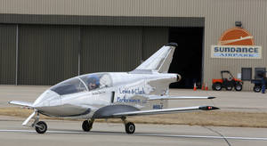 "Photo - Justin ""Shmed"" Lewis taxies his Lewis & Clark Performance, LLC, Microjet at Sundance Airport in Northwest Oklahoma City. Photo by Steve Gooch, The Oklahoman"