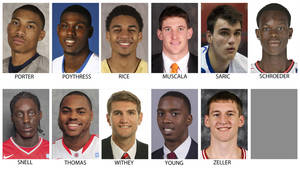 Photo - These recent images provided by their respective schools or team show possible prospects in the 2013 NBA Draft. Top row from left are Otto Porter, Georgetown; Alex Poythress, Kentucky; Glen Rice, Georgia Tech; Mike Muscala, Bucknell, Dario Saric, Cibona Zagreb and Dennis Schroeder, Braunschweig. Bottom from left are Tony Snell, New Mexico; Deshaun Thomas, Ohio State; Jeff Withey, Kansas; B.J. Young, Arkansas and Cody Zeller, Indiana.  The Draft takes place June 27, 2013 in New York. (AP Photo)