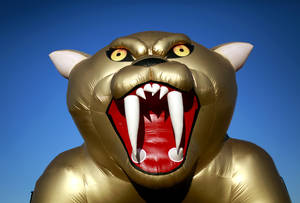 Photo - Southmoore's inflatable Sabercat sits in the light of the setting sun before Southmoore's high school football game against Muskogee at Moore Stadium in Moore, Okla., on Thursday, September 22, 2011. Photo by John Clanton, The Oklahoman ORG XMIT: KOD