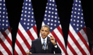 "photo - In this Jan. 29, 2013, file photo, President Barack Obama speaks about immigration reform Tuesday, Jan. 29, 2013, at Del Sol High School in Las Vegas. The immigration debate is threatening to split the Republican Party, pitting those who focus mainly on presidential elections against those who care mostly about congressional races. Granting illegal residents a path to citizenship, which critics call ""amnesty,"" is deeply unpopular in many House Republicans' districts. However, Obama wants such a pathway. (AP Photo/Isaac Brekken, File)"