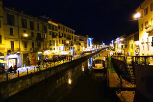 Photo - The centuries-old canal zone called Naviglio Grande has found new life as a fun nightlife venue. Photo by Rick Steves <strong></strong>