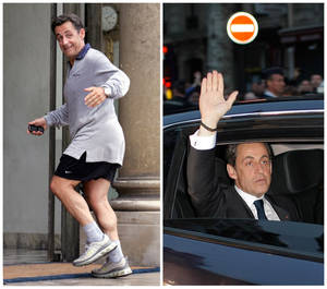 Photo -   This combination of two photos shows on the left, in a May 17, 2007 file photo, French President Nicolas Sarkozy running up the steps of the Elysee Palace, coming back from jogging in Paris; and on the right, Sarkozy in a Sunday May 6, 2012 photo waving from his car as he leaves after addressing supporters at his Union for a Popular Movement (UMP) party headquarters following the announcement of the preliminary results of the second round of the presidential elections in Paris. (AP Photo/Remy de la Mauviniere, Thibault Camus)