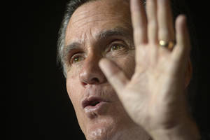 photo -   Republican Presidential candidate Mitt Romney speaks during a presidential campaign rally at Wings of the Rockies Air and Space Museum on Monday, Oct. 1, 2012, in Denver. (AP Photo/The Denver Post, AAron Ontiveroz) MAGS OUT; TV OUT; NO INTERNET