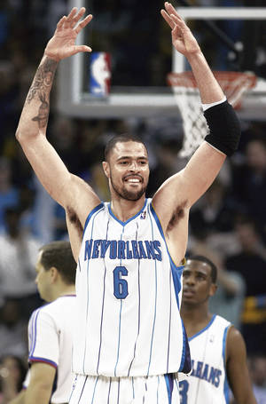 Photo - New Orleans center Tyson Chandler was traded to the Thunder on Feb. 17, but the trade was rescinded because of a failed physical.  Ap photo