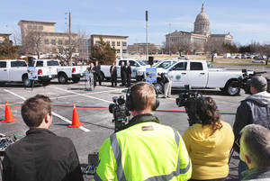 Photo - Governor Mary Fallin receiving CNG trucks for use by Oklahoma Department of Transportation , Wednesday, March 6, 2013. Photo By David McDaniel/The Oklahoman
