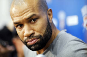 Photo - Thunder guard Derek Fisher speaks to media after practice at the Thunder Practice Facility in Oklahoma City on Wednesday, April 30, 2014 Photo by KT King, The Oklahoman