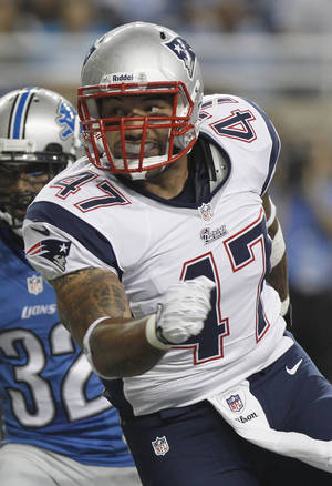 Photo - FILE - New England Patriots tight end Michael Hoomanawanui (47) is seen in the second quarter of an NFL preseason football game against the Detroit Lions in Detroit, in this Thursday, Aug. 22, 2013 file photo. (AP Photo/Duane Burleson, File)