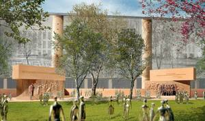Photo - This handout image courtesy of Gehry Partners, LLP, 2013 shows the planned Dwight D. Eisenhower Memorial in Washington. The staff of a federal panel that must approve plans for memorials in the nation's capital is expected to recommend that commissioners reject the design for a memorial honoring President Dwight D. Eisenhower. The group working to build the memorial plans to take the project back to the National Capital Planning Commission with new evidence that its stainless steel material will be durable and long-lasting. The group is seeking approval to move forward, although the Eisenhower family and other critics have objected to architect Frank Gehry's design.  (AP Photo/Gehry Partners, LLP, 2013)