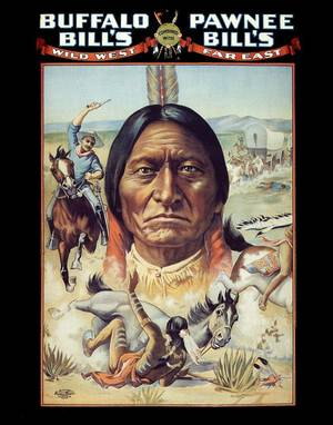 Photo - The Oklahoma Historical Society is reaching out to American Indian tribes to preserve artificats that are part of Oklahoma history, like this Buffalo Bills and Pawnee Bills poster depicting Gernomino. PHOTO PROVIDED. <strong></strong>