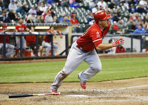 Los Angeles Angels' Mike Trout hits a home run during the eighth inning of a baseball game against the Milwaukee Brewers Wednesday, May 4, 2016, in Milwaukee. (AP Photo/Morry Gash)