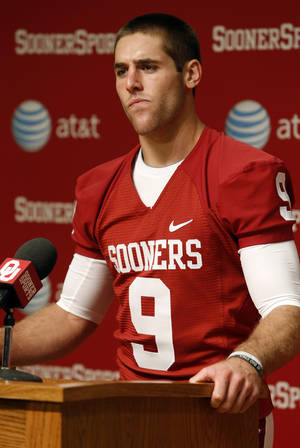 Photo - Quarterback Trevor Knight speaks during media access day for the University of Oklahoma Sooner (OU) football team in the Adrian Peterson meeting room in Gaylord Family-Oklahoma Memorial Stadium in Norman, Okla., on Saturday, Aug. 3, 2013. Photo by Steve Sisney, The Oklahoman