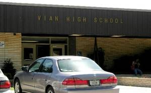 Photo - The exterior of Vian High School is seen in this 2008 file photo.