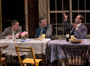 "Photo - This theater image released by Philip Rinaldi Publicity shows, from left, John Glover, John Procaccino and Stephen Kunken in a scene from Richard Nelson's new play, ""Nikolai And The Others"", currently performing at the Mitzi E. Newhouse Theater in New York.  (AP Photo/Philip Rinaldi Publicity, Paul Kolnik)"