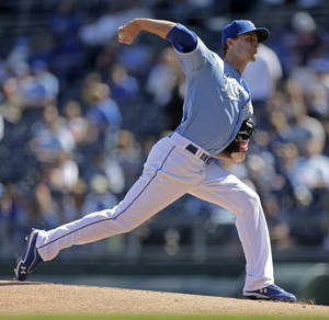 Photo -   Kansas City Royals starting pitcher Jake Odorizzi throws during the first inning of a baseball game against the Cleveland Indians, Sunday, Sept. 23, 2012, in Kansas City, Mo. (AP Photo/Charlie Riedel)