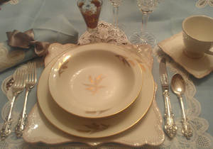Photo - Something old: Layering Mom?s fine china (S?k? China, Random Harvest pattern), which Dad bought in Japan in 1952, on mine lets me create a table that keeps family memories and traditions very much in the present. <strong> - PROVIDED BY MARNI JAMESON</strong>