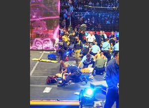Photo - In this photo provided by Rosa Viveiros, first responders work at the center ring after a platform collapsed during an aerial hair-hanging stunt at the Ringling Brothers and Barnum and Bailey Circus, Sunday, May 4, 2014, in Providence, R.I. At least nine performers were seriously injured in the fall, including a dancer below, while an unknown number of others suffered minor injuries. (AP Photo/Rosa Viveiros) MANDATORY CREDIT