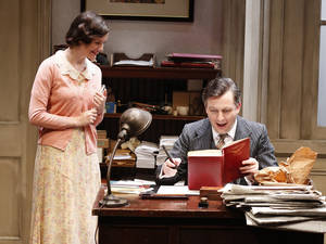 "Photo - This undated theater image released by 59E59 Theaters shows Emily Barber, left, and Alan Cox in a scene from J.B. Priestley's ""Cornelius"", currently performing as part of Brits Off Broadway at 59E59 Theaters in New York. (AP Photo/59E59 Theaters, Carol Rosegg)"