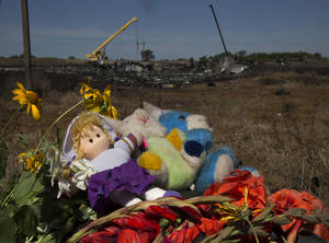 Photo - Toys and flowers are placed at the crash site of Malaysia Airlines Flight 17 near the village of Hrabove, eastern Ukraine, Donetsk region, eastern Ukraine Monday, July 21, 2014. Another 21 bodies have been found in the sprawling fields of east Ukraine where Malaysia Airlines Flight 17 was downed last week, killing all 298 people aboard. (AP Photo/Dmitry Lovetsky)