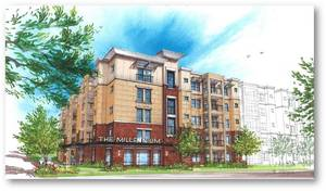 Photo - An architect's drawing shows the exterior of a planned five-story high-rise apartment complex planned for east Norman. PHOTO PROVIDED <strong></strong>