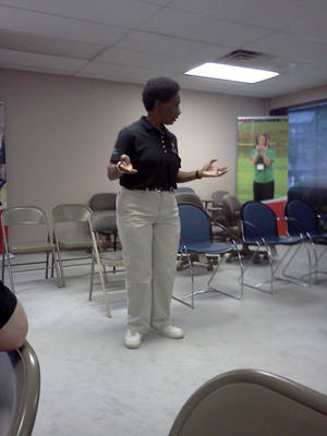 Photo - Loretta Clairborne speaks to Team Oklahoma at their team building meeting in Tulsa. Photo by Dave Francis