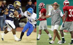 Photo - Alabama head coach Nick Saban said Friday he doesn't believe he was in violation of the NCAA rules in his visit to Heritage Hall and star running back Barry J. Sanders on Wednesday. (Archive photos)