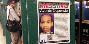 Photo - In this Oct. 21, 2013 file photo, a missing poster asking for help in finding Avonte Oquendo is displayed at a subway station in the Brooklyn borough of New York. Oquendo, 14, who is autistic, was last seen on Oct. 4 walking out of his Queens school. Avonte was in a school building that like many in the city had special-needs and general-education students together under one roof. He was outwardly indistinguishable from everybody else, leading some parents and advocates to question whether the nation's largest school system is equipped to keep such kids safe.  (AP Photo/Barbara Woike)
