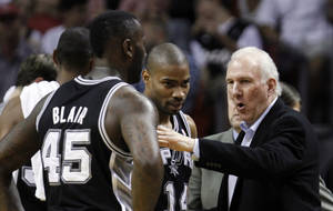 photo - San Antonio Spurs head coach Gregg Popovich, right, talks to DeJuan Blair (45) and Gary Neal (14) during a time out in the first half of an NBA basketball game against the Miami Heat, Thursday, Nov. 29, 2012, in Miami. (AP Photo/Alan Diaz)
