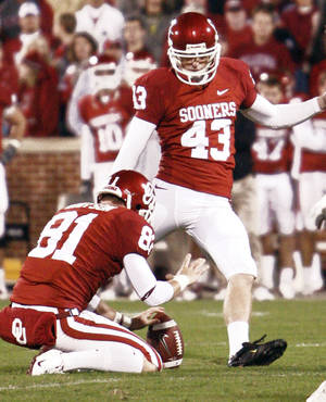 Photo - Walk-on kicker Patrick O'Hara (43) booted a field goal and two extra points in OU's 65-10 win Saturday over Texas A&M. PHOTO BY CHRIS LANDSBERGER, THE OKLAHOMAN