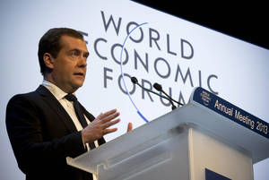 Photo - Russian Prime Minister Dmitry Medvedev speaks at the 43rd Annual Meeting of the World Economic Forum, WEF, in Davos, Switzerland, Wednesday, Jan. 23, 2013.  (AP Photo/Anja Niedringhaus)