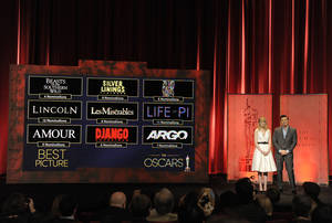 Photo - Actress Emma Stone and 2013 Oscar host Seth MacFarlane present the 85th Academy Awards nominations for Best Picture on Thursday, Jan. 10, 2012 in Beverly Hills, Calif. The 85th Annual Academy Awards will take place on Sunday, Feb. 24 at the Dolby Theatre in Los Angeles. (Photo by Chris Pizzello/Invision/AP Photo)