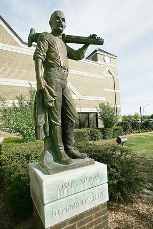 Photo - SCULPTURE, SCULPTURES: Abner Norman, founder of Norman, OK. photographed Friday, April 14, 2006. BY JACONNA AGUIRRE/THE  OKLAHOMAN.
