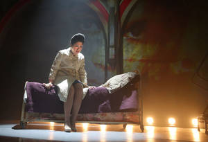 "Photo - This undated theater image released by The Public Theater shows Ruthie Ann Miles during a performance of ""Here Lies Love,"" in New York. (AP Photo/The Public Theater, Joan Marcus)"