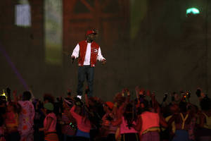 Photo -   Dizzee Rascal performs during the Opening Ceremony at the 2012 Summer Olympics, Friday, July 27, 2012, in London. (AP Photo/David Goldman)