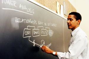 Photo - EDITORS NOTE BEST QUALITY AVAILABLE: Barack Obama writes on a chalkboard at the University of Chicago Law School in Chicago, Illinois, U.S., in this undated photo released to the media on Feb 12, 2008. Obama, who may become the first black U.S. president, displays a penchant for defying convention and forging his own path that those who knew his family well trace back to the influence of his mother Ann Dunham. Source: Family photo via Bloomberg News