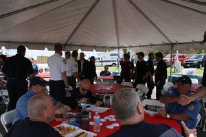 Photo -  Integris Health Edmond held its third annual First Responders Appreciation Day. More than 50 firefighters, police officers and EMSA personnel attended the event that included free lunch, chair massages and tours of the emergency room and cath lab. PHOTO PROVIDED  <strong></strong>