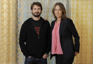 "Photo - Mark Boal, left, screenwriter and co-producer of the film ""Zero Dark Thirty,"" and the film's director and co-producer Kathryn Bigelow pose together for a portrait at the Beverly Wilshire Hotel on Monday, Dec. 10, 2012, in Beverly Hills, Calif. ""Zero Dark Thirty,"" which introduces itself as ""based on first-hand accounts of actual events,"" is new kind of timely fusing of filmmaking and journalism, what Bigelow calls ""an imagistic version of living history."" (Photo by Chris Pizzello/Invision/AP)"