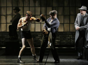 "Photo - This theater image released by Lincoln Center Theater shows, from left, Seth Numrich, Danny Burstein and Danny Mastrogiorgio in ""Golden Boy."" (AP Photo/Lincoln Center Theater, Paul Kolnik)"