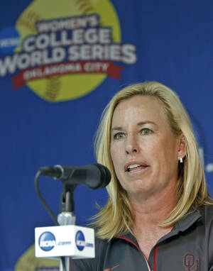 Photo - Oklahoma head coach Patty Gasso speaks in a press conference during the Women's College World Series media day at ASA Hall of Fame Stadium on Wednesday, May 28, 2014 in Oklahoma City, Okla.  Photo by Chris Landsberger, The Oklahoman