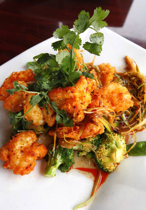 Photo - Szechuan Jumbo Shrimp at the Szechuan Bistro, 1010 W Memorial Road, in Oklahoma City. <strong>PAUL B. SOUTHERLAND - THE OKLAHOMAN</strong>